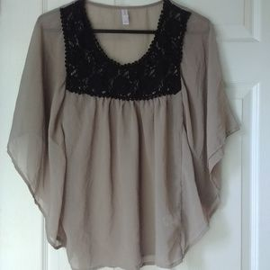 Small Flowy Boho Peasant Blouse with Lace